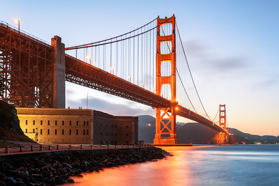 Golden Gate Bridge, Fort Point, Sunset, San Francisco, California, America