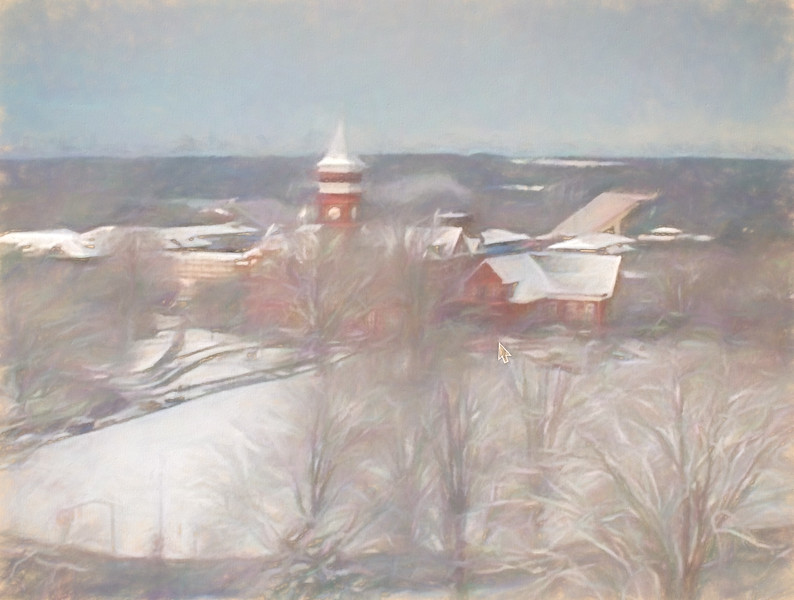 Tillman Hall in snow as a pastel