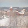Tillman Hall in snow as a pastel