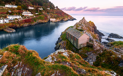 Sunset at the Net Loft Building, Polperro, Cornwall, England