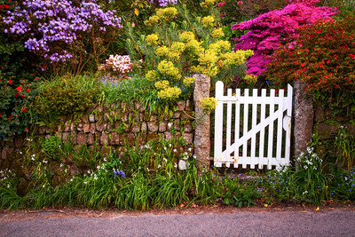 White Gate on the road to nowhere, Land's End, Cornwall, England