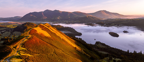 Catsbells, Panorama, Keswick, Derwent Water, Lake District, Cumbria, England