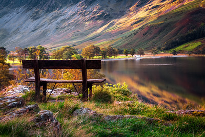 Bench, Buttermere Lake, Cumbria, Lake District, England