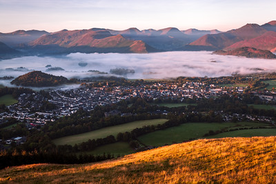 Mist over Derwent Water, Keswick, Lake District, Cumbria, England