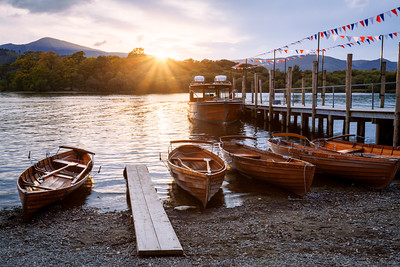 Sunset, Keswick Landings, Lake District, Derwent Water, Cumbria, England