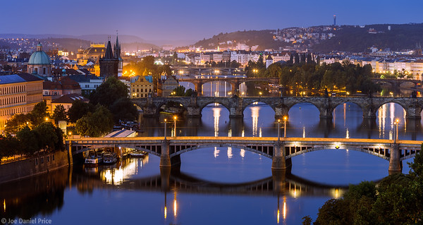 Bridges over Vltava River, Prague, Czechia