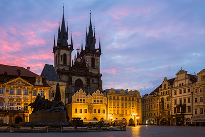Sunrise, Tyn Church, Old Town Square, Prague, Czechia