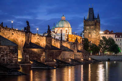 Blue Hour, Charles Bridge, Old Town Bridge Tower, Prague, Czechia