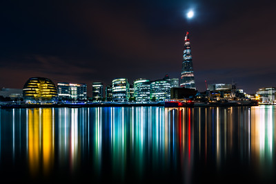 London Skyline, City Hall, The Shard, HMS Belfast, London, England