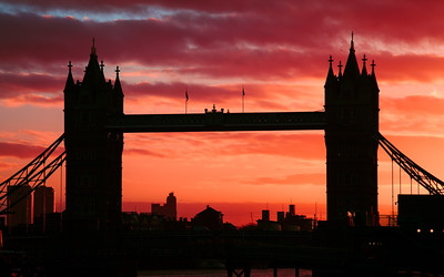 Silhouette, Deep Red Sky at Tower Bridge, London, England