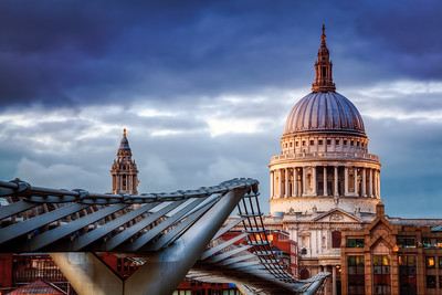 Blue Hour, St Paul's Cathedral and the Millennium Bridge, South Bank, London, England