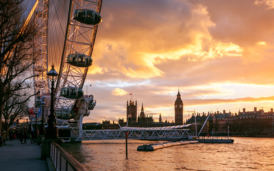 Big Ben, London Eye, River Thames, Sunset, London, England