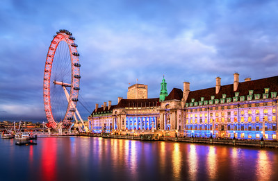 London Eye and London Aquarium From Westminster Bridge, London, England