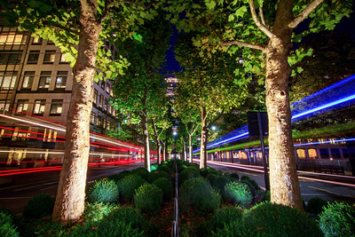 Light Trails at Canary Wharf, London, England