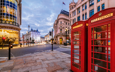 Red Phone boxes at Piccadilly Circus, London, England