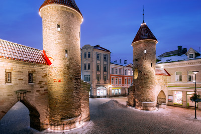 Blue Hour, Viru Gate, Tallinn, Estonia