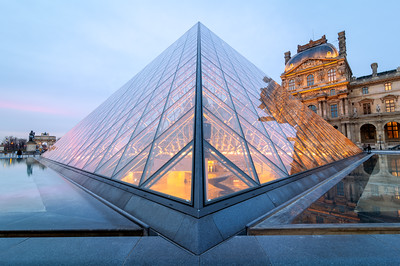 Sunrise, Glass Pyramid, Louvre Museum, Paris, France