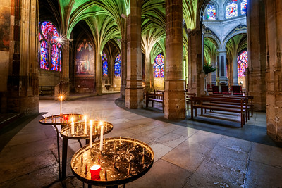 Candles at Saint-Séverin Church, Paris, France