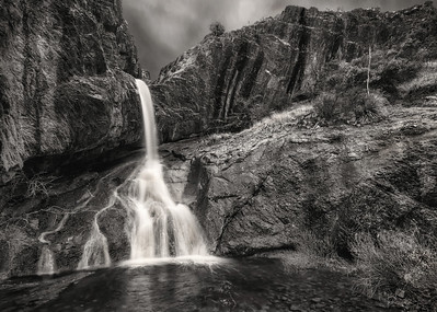Dripping Springs Waterfall Black and White