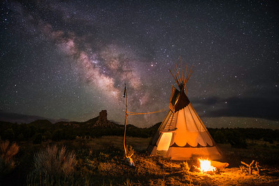Tipi In The Sawtooth Mountains Under The Milky Way