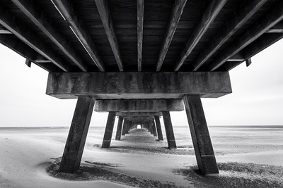 Black and White, Tybee Beach Pier, Tybee Island, Savannah, Georgia, America