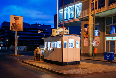 Blue Hour, Checkpoint Charlie, US Army Checkpoint, Berlin Wall, Berlin, Germany