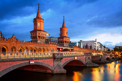 The Oberbaum Bridge, River Spree, Oberbaumbrücke, Berlin, Germany