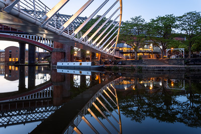 Night, Merchant's Bridge, Castlefield Basin. Deansgate, Manchester, England