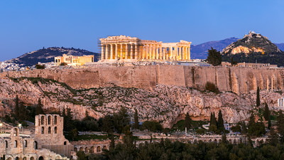 Blue Hour, Acropolis, Pantheon, Athens, Greece