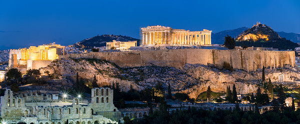 Odeon of Herodes Atticus, Pantheon, Acropolis, Mount Lycabettus, Blue Hour, Athens, Greece