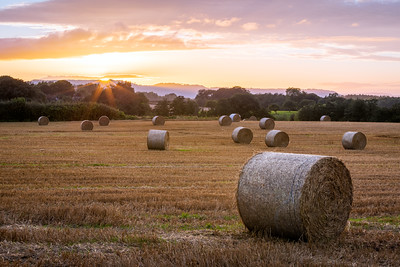 Dramatic Sunset, Straw Bales, Hereford, Herefordshire, England