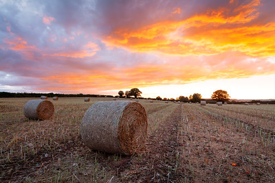 Straw Bales, Dramatic Sunset, Herefordshire, England