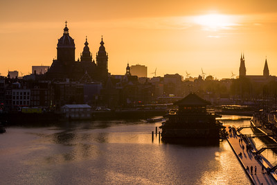 Sunset, Skyline, Amsterdam, Holland