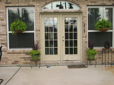 They flank the back door, along with the ferns.  The project is not finished yet...but it's on its' way.