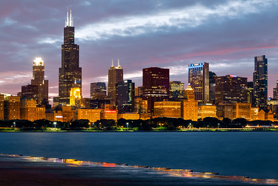 Willias Tower (Sears Tower) Skyline, Chicago, Lake Michigan, Illinois, America