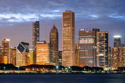 Night, Skyline, Chicago, Illinois, America