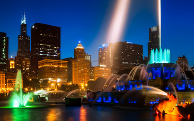 Night, Buckingham Fountain, Chicago, Illinois, America