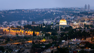 Night, Temple Mount, Dome of the Rock, Al-Aqsa Mosque, Jerusalem, Israel
