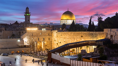 Western Wall, Sunrise, Temple Mount, Dome of the Rock, Jerusalem, Israel