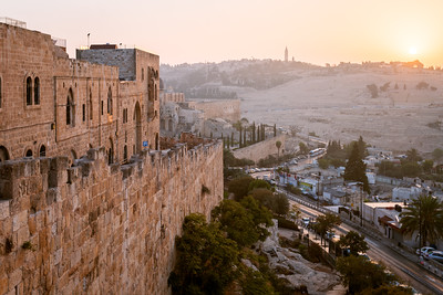 Mount of Olives, City Walls, Sunrise, Jerusalem, Israel