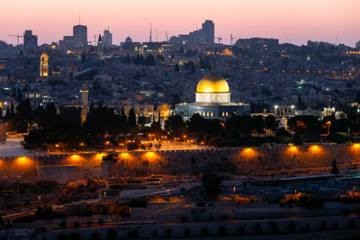 Twilight, Dome of the Rock, Temple Mount, Jerusalem, Israel