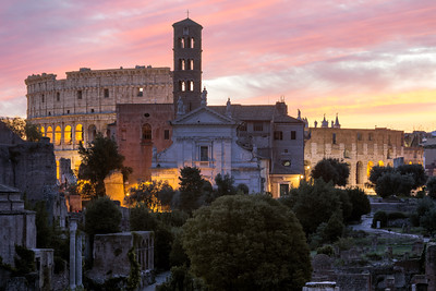 Sunrise, Colosseum, Roman Forum, Rome, Italy