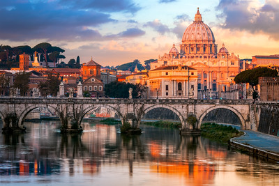 Sunrise Glow on St Peter's Basilica, St Angelo Bridge, Italy