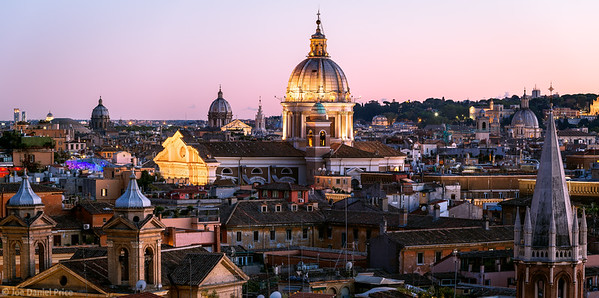 Dusk, Basilica of SS Ambrose and Charles on the Corso, Rome, Italy