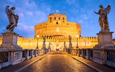 Blue Hour, Castel Sant'Angelo, Mausoleum of Hadrian,  Parco Adriano, Rome, Italy