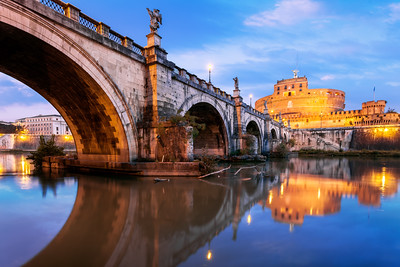 Ponte Sant'Angelo, Castel Sant'Angelo, Mausoleum of Hadrian,  Parco Adriano, Rome, Italy