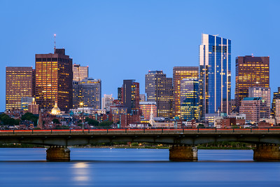 Harvard Bridge, Skyline, Boston, Massachusetts, America