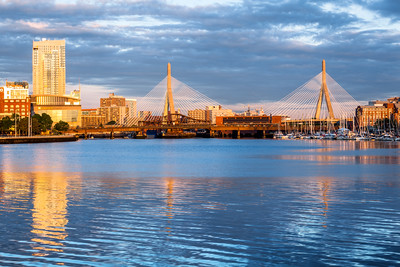 Sunrise, Leonard P. Zakim Bunker Hill Memorial Bridge, Boston, Massachusetts, America