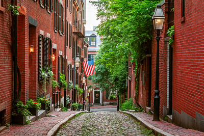 Acorn Street, Boston, Massachusetts, America