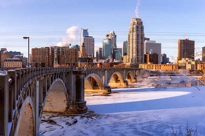 Skyline, Polar Vortex, Minneapolis, Minnesota, America